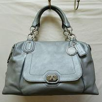 Coach Campbell Turnlock Leather Satchel F25508 Silver Photo