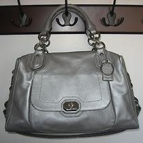 Coach Campbell Turnlock Leather Satchel-Platinum/silver Photo