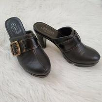 Coach Candace Size 8.5 Black Leather Logo Platform Mules Photo