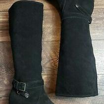 Coach Candid Women's Black Suede Wedge Fashion Knee High Boots Size 9.5 B Photo