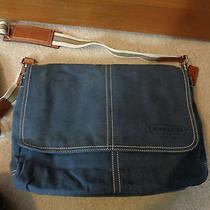 Coach Canvas Blue Computer Book Shoulder Bag Photo