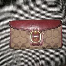 Coach Canvas Buckle Red-Ish Leather Wallet Tri-Fold Good Cond. Photo