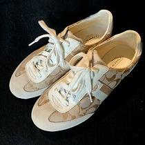 Coach Canvas Cream Metallic Gold Tennis Shoes Sneakers Size 8.5m. Never Worn. Photo
