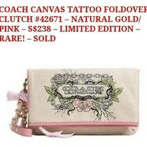 Coach Canvas Foldover Clutch/ Wristlet Purse Limited Edition Tattoo. Khaki/pink  Photo