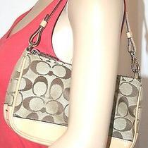 Coach Canvas Leather Signature Bag Beige Small Wallet Baguette Wrist Clutch Photo