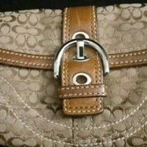Coach Canvas Logo Brown Wristlet With Tag 150.00 Photo