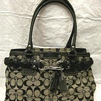 Coach Canvas N Lthr Satchel Bag Purse Photo