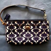 Coach Canvas Signature Large Wristlet/ Wallet/pouch in Brown/dark Brown Photo