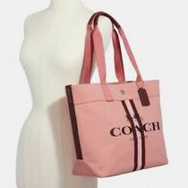 Coach Canvas Tote With Stripe Denim in Sv/ Bright Coral (Pink / Red) Photo
