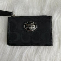 Coach Canvas Zip Coin Purse Id Credit Card Holder Key Ring Black Leather Trim Ec Photo