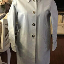 Coach Car Coat Light Blue Silver Turn Locks Size 8 Gorgeous Photo