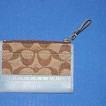 Coach Card Holder With Key Ring Light Brown With Baby Blue Trim Used Photo