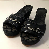 Coach Carissa Women's Platform Wedge Slides Optic Art Black Heel Open Toe 7.5b Photo