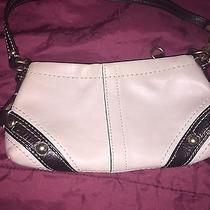 Coach Carley Leather Wristlet (Cream/brown/gold) Photo