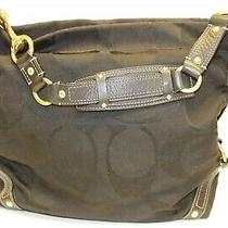 Coach Carly L0773-10620 Black Signature Jacquard and Leather Hobo Shoulder Bag Photo