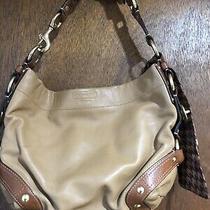 Coach Carly Soft Camel Brown Leather Trim Hobo Bag Shoulder Bag Purse 10615  Photo