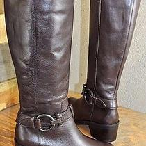 Coach 'Carolina' Women's Brown Leather Full Zip Harness Knee Boot Size 5.5 B Photo