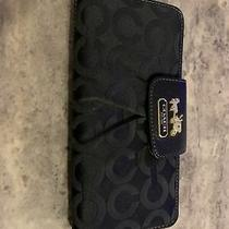 Coach Carriage Black Leather Pink Signature Bifold Clutch Wallet Large Euc Photo