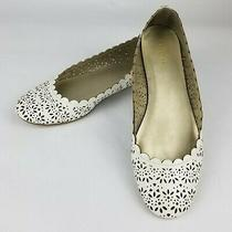 Coach Carsin Womens White Leather Laser Cut Perforated Slip on Flats Size 9.5  Photo