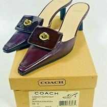 Coach Cassidy Kid/patent Bordeau Red Mules Heels Pumps Shoes Size 6.5b With Box Photo