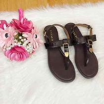 Coach Cassidy Leather T Strap Slingback Sandals Brown Gold Women's Size 7.5 Photo