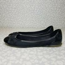Coach Cecile Signature Logo Patent Leather Cap Toe Black Ballet Flats Size 9.5 Photo
