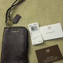 Coach Cellphone Wallet Wristlet-  Black Violet  Photo