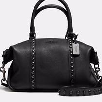 Coach-Central Satchel -Lacquer Rivets -Pebble Leather-Brand New in Box-Black Photo