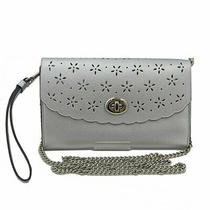 Coach Chain Wallet Silver Floral Print Shoulder Back Long Clutch Photo