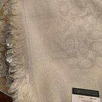 Coach Chalk/silver Signature C Metallic Wrap/shawl mfsrp175.00 Nwt. Photo