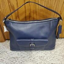 Coach Charlie Leather Hobo Purse Classic  Ink Blue 398 Photo
