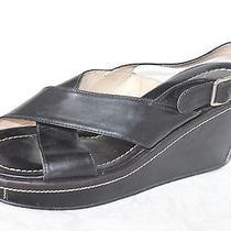 Coach Charlyn Black Leather Slingback Wedge Platform Sandals Women's 8.5 B Photo