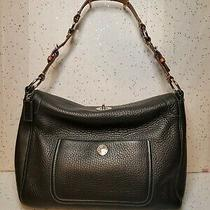 Coach Chelsea Black Pebbled Leather Brown Strap Handbag Purse Large Hobo Photo