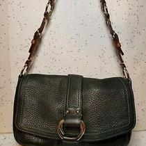 Coach Chelsea Black Pebbled Leather Brown Strap Handbag Purse Medium Photo