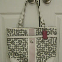 Coach Chelsea Heritage Signature Tote Grey White Pink Handbag Purse 15137 - Euc Photo
