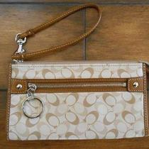 Coach Chelsea Heritage Zippy Brown Khaki Multi Wallet- 45674 Nwt Photo