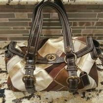 Coach Chelsea Patchwork Suede & Leather Satchel Shoulder Bag 10978 Brown Purse Photo