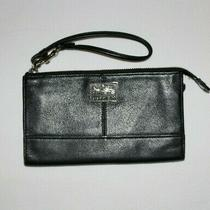 Coach Chelsea Zippy Leather Large Wristlet Zip Wallet in Black Silver Logo 46276 Photo