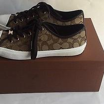 Coach Chrissy Outline Womens Khaki/red Sig C/nappa Leather Sneakers Size 8.5 Photo