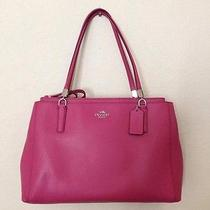 Coach Christie Carryall in Leather (Coach F34672) Silver/sunset Red Photo