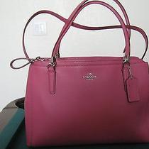 Coach Christie Satchel Crossgrain Leather Handbag Purse F34672 Sunset Red Photo