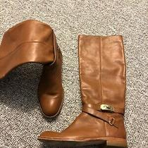 Coach Christine Camel Brown Leather Harness Riding Brown Tall Boots Sz 6b Euc Photo