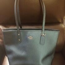 Coach City Tote F16224 Crossgrain Leather Handbag Metallic Dark Turquoise 395 Photo