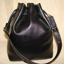 Coach Classic Duffle Drawstring Black Leather Bucket/tote/shoulder Bag/purse  Photo
