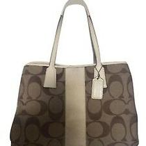 Coach - Classic Large Tote Bag - Fine Leather and Signature Canvas Photo