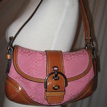 Coach Classic Pink Brown Leather Canvas Soho Hobo Signature Monogram Purse Bag Photo