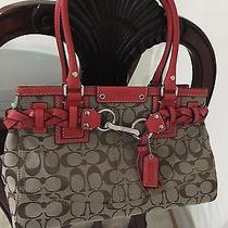 Coach Classic Red/khaki Brown Leather Shoulder Bag (New Condition) Photo
