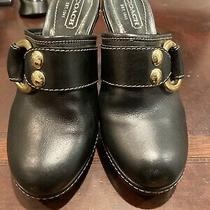 Coach Claude Mules Slip-on Heels Shoes Black Leather W/brass Tone Metal 7.5 Photo