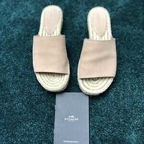 Coach Claudia Espadrille Slide Sandals Khaki Tan Blush Size 6b Photo