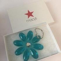Coach Clear Blue Flower Daisy Bag Hang Tag Key Chain Fob Charm Ring New Photo